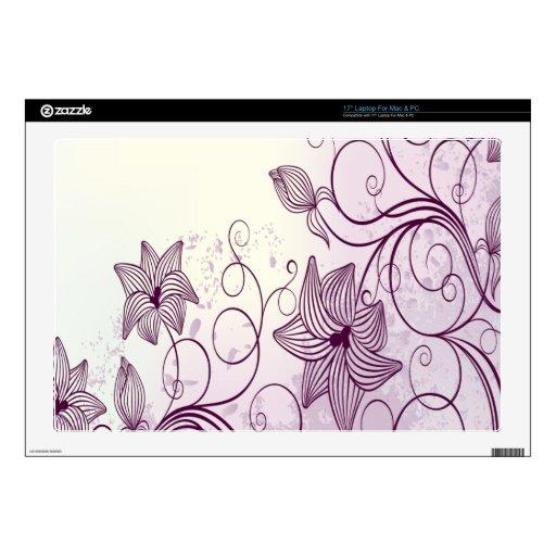 Flores púrpuras muy hermosas calcomanías para portátiles