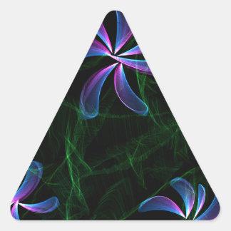 Flores púrpuras pegatina triangular