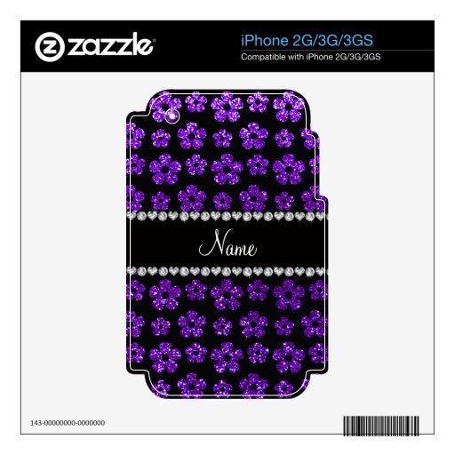 Flores púrpuras personalizadas del brillo del añil iPhone 3GS skins