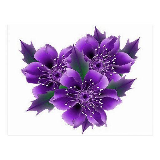 flores púrpuras postal