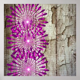 Flores púrpuras rosadas de madera del granero rúst póster