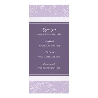 """Flores púrpuras y blancas del menú del boda folleto publicitario 4"""" x 9"""""""