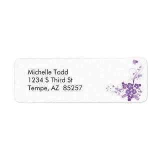 Flores púrpuras y etiqueta del remite de los Flour Etiqueta De Remite