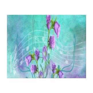 Flores púrpuras y notas musicales impresión en lona