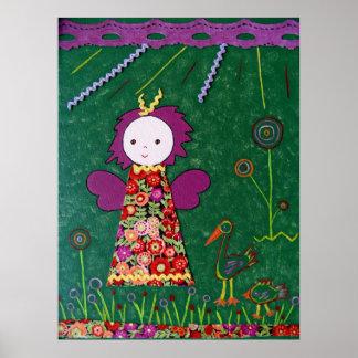 flores púrpuras y rojas del pequeño verde divertid póster