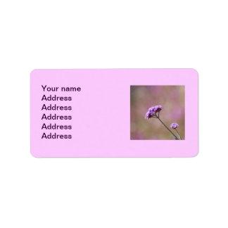 Flores púrpuras y rosadas macras etiqueta de dirección