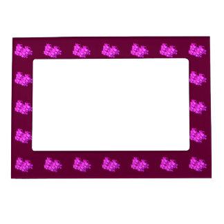 Flores púrpuras y rosadas marcos magnéticos de fotos