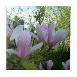 flores purpúreas claras de la magnolia de la azulejo cuadrado pequeño