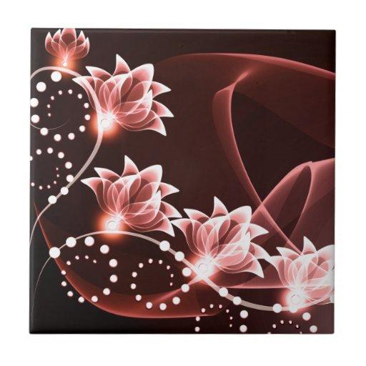 flores que brillan intensamente rojas y remolinos  azulejo cuadrado pequeño