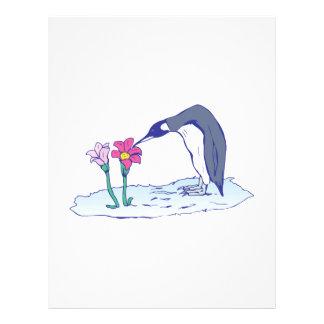 flores que huelen del pingüino lindo flyer personalizado