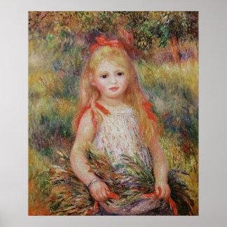 Flores que llevan de la niña póster