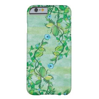 Flores que suben azules florecientes funda de iPhone 6 barely there