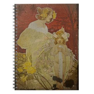 Flores que tejen de la madre en pelo note book