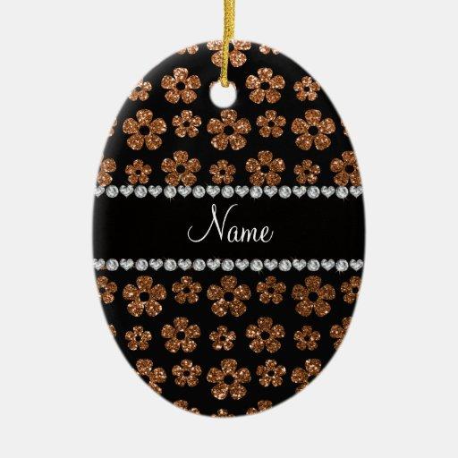 Flores quemadas nombre personalizadas del brillo adorno ovalado de cerámica