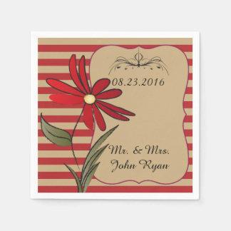 Flores rayadas rojas servilleta desechable