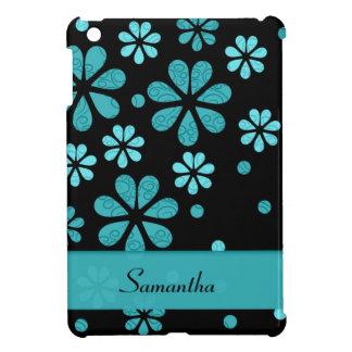 Flores retras azules claras en negro iPad mini protectores