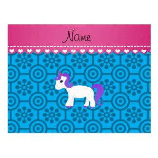 Flores retras azules del unicornio púrpura postal