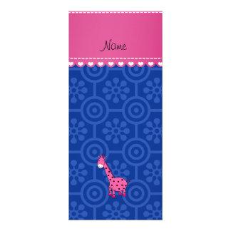 Flores retras azules personalizadas de la jirafa lona