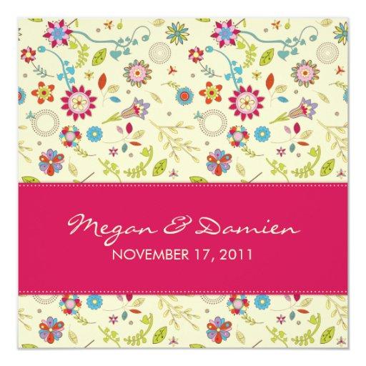 Flores retras · Cerise · Invitación del boda