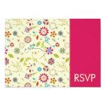 Flores retras · Cerise · Invitación RSVP del boda