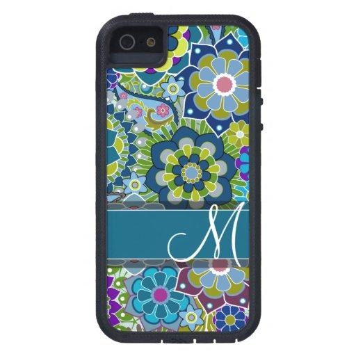 Flores retras coloridas con el monograma iPhone 5 Case-Mate funda
