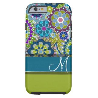 Flores retras coloridas con el monograma funda resistente iPhone 6