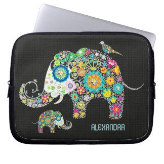 Flores retras coloridas de la forma del elefante funda portátil