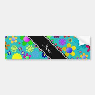 Flores retras coloridas personalizadas de la etiqueta de parachoque