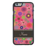 Flores retras coloridas rosadas conocidas funda de iPhone 6 carved® de arce