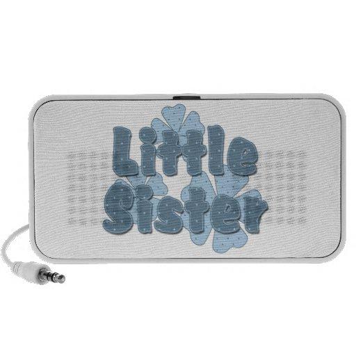Flores retras de la pequeña hermana azules iPod altavoz