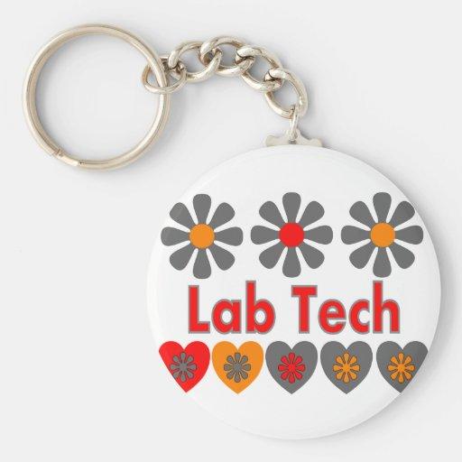 Flores RETRAS de la tecnología del laboratorio Llavero Redondo Tipo Pin
