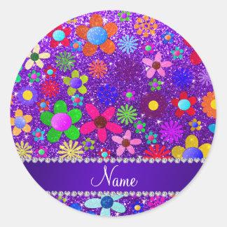 Flores retras del brillo púrpura conocido del añil pegatina redonda