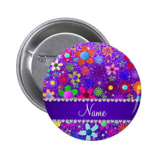 Flores retras del brillo púrpura conocido del añil chapa redonda 5 cm