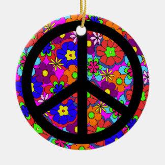 Flores retras del hippy del signo de la paz adorno