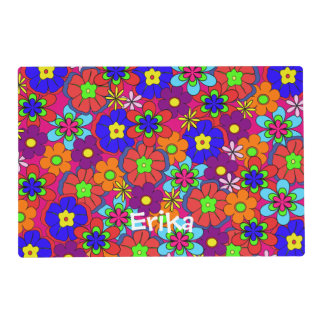 Flores retras del hippy tapete individual