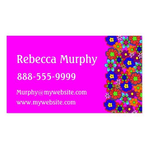 Flores retras del hippy tarjetas de visita