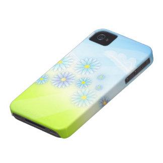 flores retras del verano en un diseño del campo Case-Mate iPhone 4 protectores