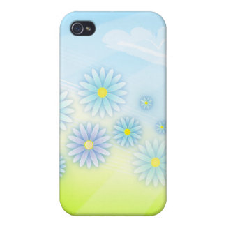 flores retras del verano en un diseño del campo iPhone 4 fundas