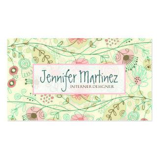 Flores retras dibujadas mano linda verde y beige tarjetas de visita