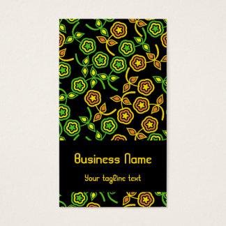 Flores retras en pistacho y naranja tarjetas de visita