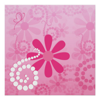 Flores retras femeninas florales rosadas lindas de impresiones