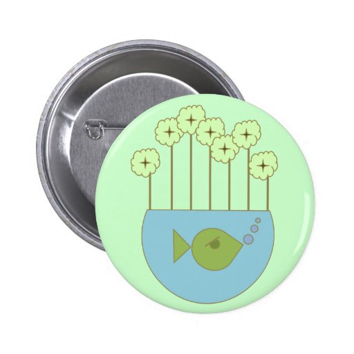 Flores retras/Fishbowl de la MOD Pin Redondo De 2 Pulgadas