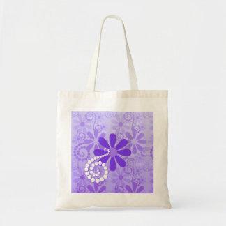 Flores retras florales púrpuras femeninas bolsas lienzo