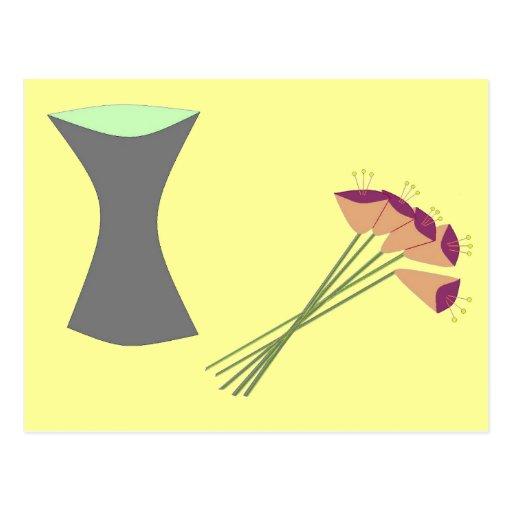 Flores retras/florero de la MOD Tarjeta Postal