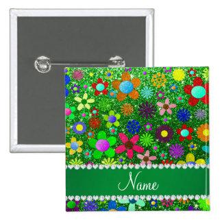 Flores retras personalizadas del brillo verde chapa cuadrada 5 cm