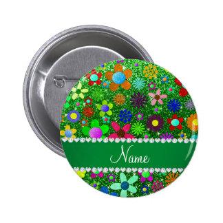 Flores retras personalizadas del brillo verde chapa redonda 5 cm