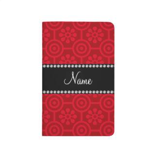 Flores retras rojas conocidas personalizadas cuaderno