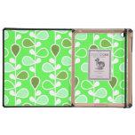Flores retras verdes y blancas iPad fundas
