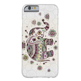 Flores retras y elefante de los colores en colores funda de iPhone 6 barely there