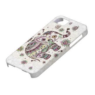Flores retras y elefante de los colores en colores iPhone 5 cárcasa